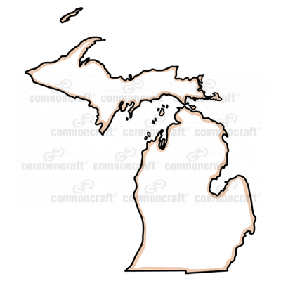 Michigan State US Map Common Craft