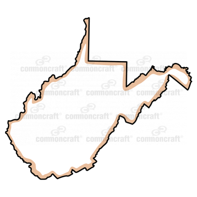 West Virginia State US Map Common Craft - Virginia on a us map