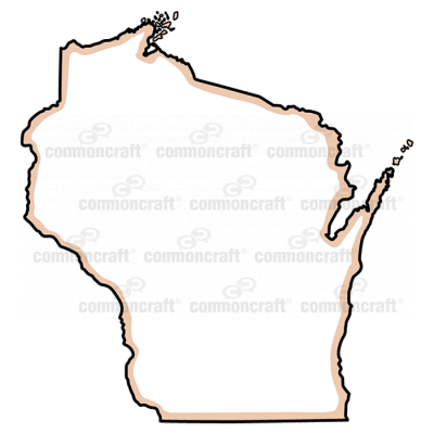 Wisconsin State US Map Common Craft