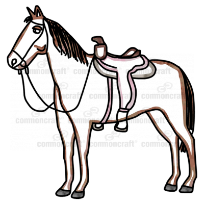 Horse with a saddle