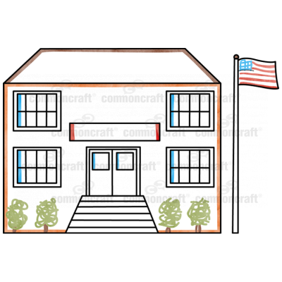 School Building Flag